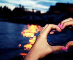 heart, sunset, and love image