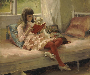 book, painting, and reading image