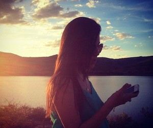 brunette, girl, and iphone image