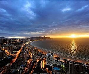 city, beach, and sunset image