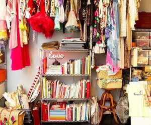 closet, clothes, and book image