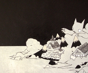 black and white, cartoon, and cat image