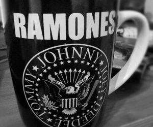 ramones, black and white, and cup image