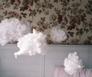 clouds, vintage, and floral image