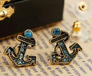earrings, anchor, and blue image