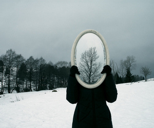 mirror, snow, and winter image