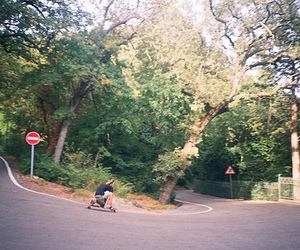 hill, longboarding, and road image