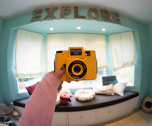 camera, yellow, and cute image
