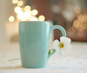 flowers, cup, and coffee image