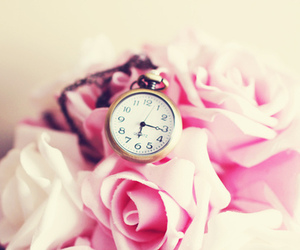 pink, roses, and pocket watch image