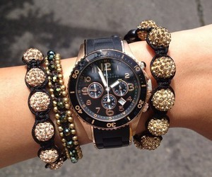 watch, black, and gold image