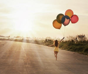 girl, balloons, and sun image