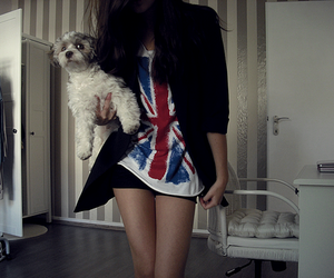 girl, dog, and england image