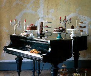 cake, candle, and piano image