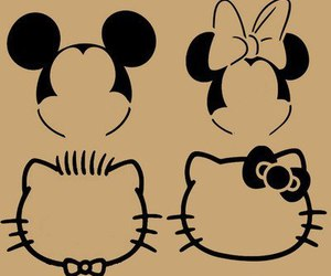 hello kitty, disney, and mickey mouse image