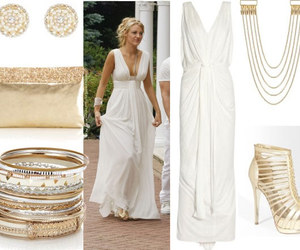 gold, gossip girl, and white dress image