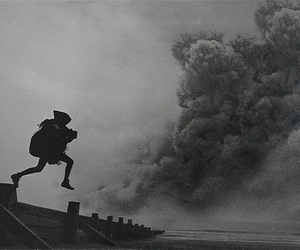 black and white, smoke, and roof image