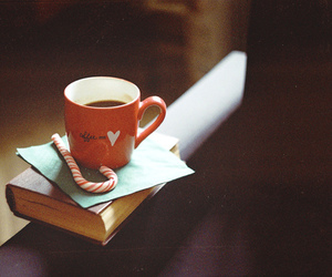book, coffee, and candy image