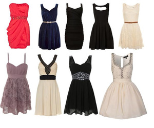 beige, black, and black dress image