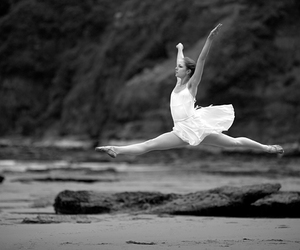ballet, beach, and black and white image