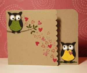 card, love, and owl image