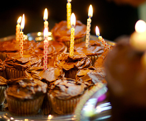 candles, cupcakes, and food image