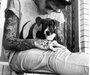 tattoo, dog, and boy image