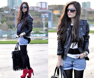 denim, look, and leather jacket image