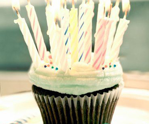 cupcake, birthday, and candles image