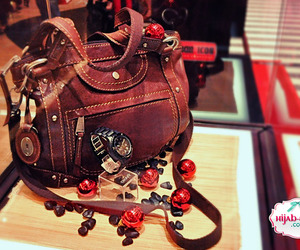 bag, brown, and red image