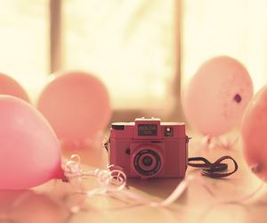 pink, camera, and balloons image