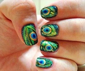 nails, peacock, and nail art image