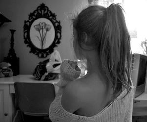 alone, bedroom, and black and white image
