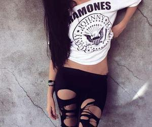 girl, ramones, and black and white image