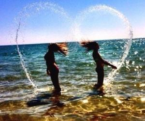 beach, hair, and heart image