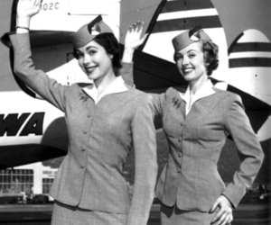 vintage, black and white, and flight attendant image