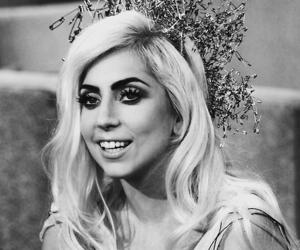 Lady gaga, black and white, and gaga image