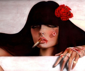 cigarette, blood, and art image