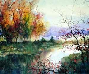 painting, art, and autumn image