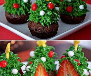 christmas, strawberry, and cupcake image