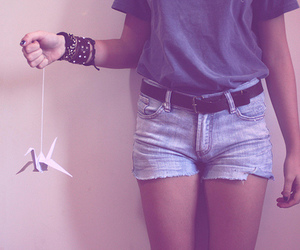 girl, crane, and Paper image