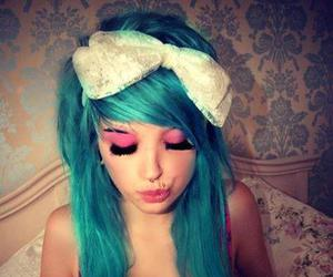 girl, blue hair, and bow image