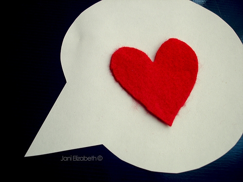 caption and heart image