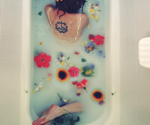 bath, dyed hair, and explore image