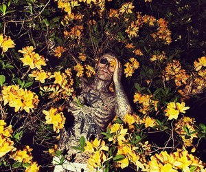 flowers, zombie boy, and tattoo image