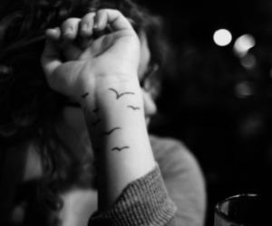 tattoo, bird, and black and white image