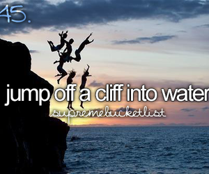 cliff, jump, and water image