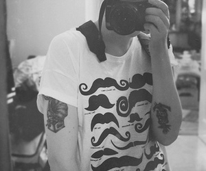 moustache, t-shirt, and tattoo image