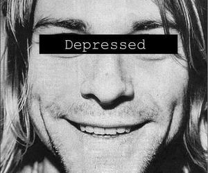 nirvana, kurt cobain, and depressed image