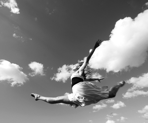 ballet, black and white, and clouds image